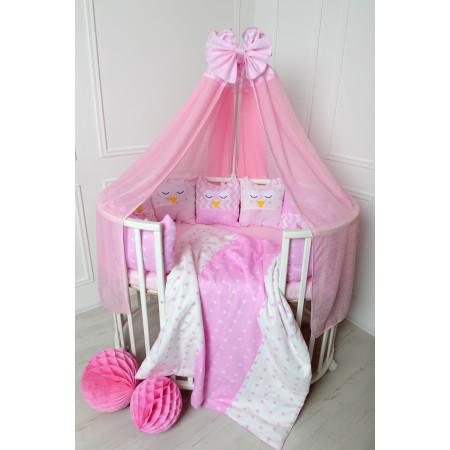 """Комплект для круглой / овальной кровати """"Совы"""" COMPLEANNO, 22 предмета / цвет розовый"""