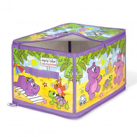 Коробка для хранения VALIANT KCAF-ZIP-L Весёлая африка 40*30*25 см
