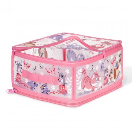 Коробка для хранения VALIANT KCCD-ZIP-M Киски и собачки 30*28*15 см