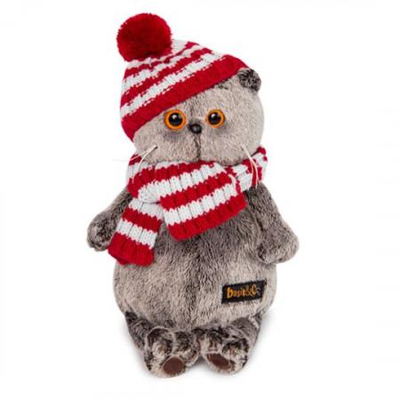 Мягкая игрушка BUDI BASA Ks22-088 Басик в полосатой шапке с шарфом 22см