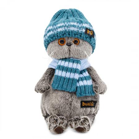 Мягкая игрушка BUDI BASA Ks25-105 Басик в голубой вязаной шапке и шарфе 25см