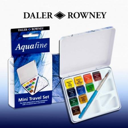 Краски DALER ROWNEY 131900910 Дорожный набор (акварель 10 кювет, кисть и палитра)