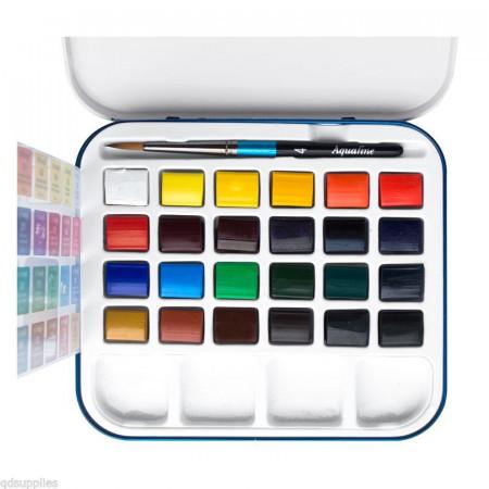 Краски DALER ROWNEY 131900924 Дорожный набор (акварель 24 кювет, кисть и палитра)