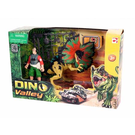 Игровой набор CHAP MEI 520151-1 Дилофозавр и охотник со снаряжением