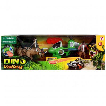 Игровой набор CHAP MEI 520152-1 Динозавр Трицератопс и охотник на вертолёте