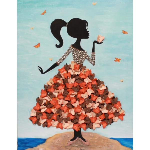 Мозаика из пайеток ВОЛШЕБНАЯ МАСТЕРСКАЯ Девочка с бабочками МХ-22
