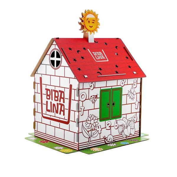 Картонный домик BIBALINA MAX, с английским алфавитом и наклейками BBL003-002