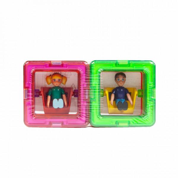 Магнитный конструктор MAGFORMERS 10 квадратов, 1 мальчик, 1 девочка 713123