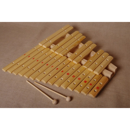 Ксилофон  хроматический  Ля мажор (25 пластин, на низком резонаторе, ель)