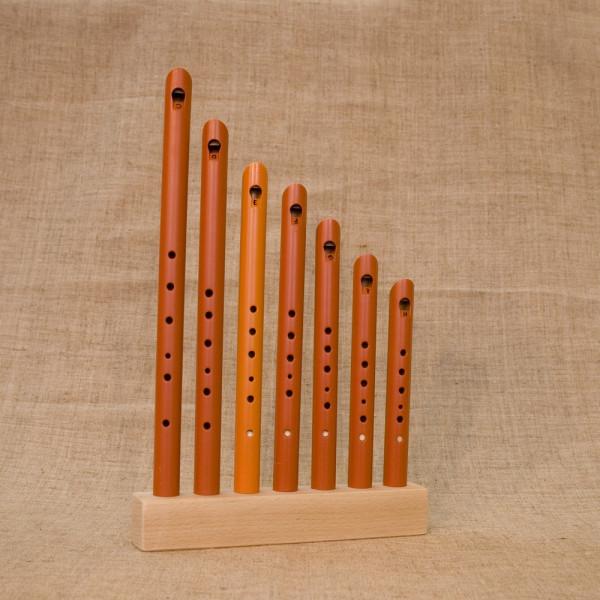 Комплект свирелей (7 тональностей: C, D, E, F, G,  A, H) с подставкой